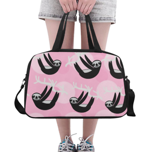 Details About Lovely Overnight Bag Duffle Cute Sloth On Pink Backgrund Weekender Travel