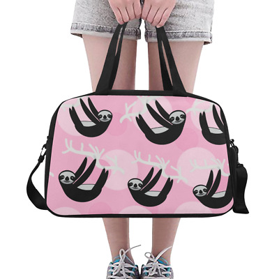 Lovely Overnight Bag Duffle Cute Sloth On Pink Backgrund Weekender Travel 898309197039 Ebay