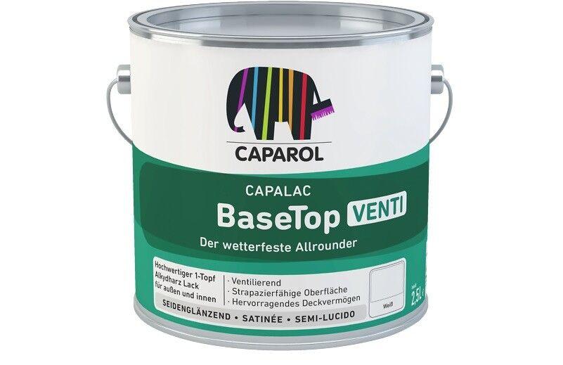 4x Caparol Capalac BaseTop 2,5 Liter -ventilierendes Fenster-Anstrichsystem-