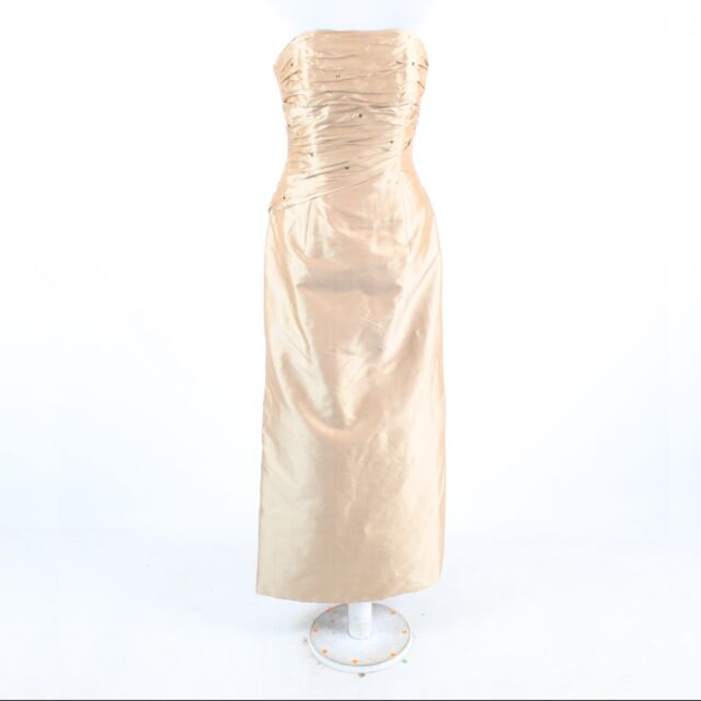 Metallic gold 100% Thai silk MARISA BARATELLI strapless ball gown ...