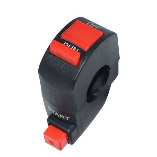 Black 22mm Motorcycle Press Switch Ignition Start Button Run OFF 12V Scooter ATV
