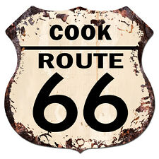 BPHR0060 COOK ROUTE 66 Shield Rustic Chic Sign  MAN CAVE Funny Decor Gift