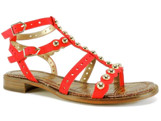 6c5bb96b7 Sam Edelman Women s Elisa Studded Sandals Bright Coral Suede Size 6.5 M