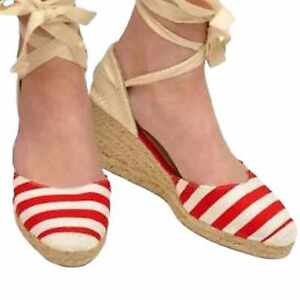 Womens-Ladies-Mid-Wedge-Striped-Beach-Espadrilles-Tie-Ankle-Sandal-Round-Toe