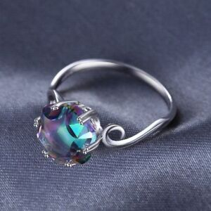 Genuine-Rainbow-Mystic-Fire-Topaz-Ring-Solid-925-Sterling-Silver-Women-Jewelry
