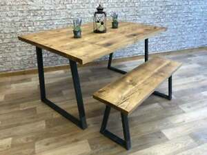 Details about Industrial Dining Table Steel A-Frame Dining Kitchen Table  Rustic Reclaimed