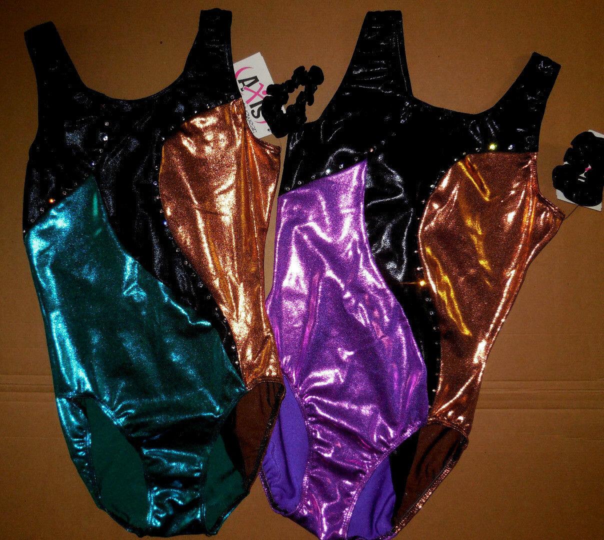 NWT Axis GymnasticTank Leotard Rhinestone Trim Foil Teal orviola Ladies 97047R9