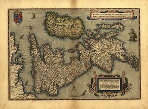 Map-of-England-Wales-Scotland-UK-Reproduction-Vintage-Antique-Old-Colour-Poster