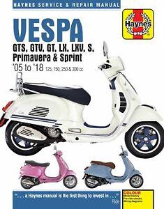 Haynes Manual 4898 for Vespa GTS/GTV/GT/LX/LXV/S/Primavera/Sprint (05 - 18)