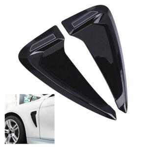2PCS-Auto-Seitenfluegel-Fender-Kotfluegel-Kuehlergrill-Aufkleber-Abdeckung-Schwarz