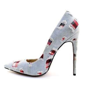 b8718b827d Fashion Women Retro Pointed Toe High Heel Light Denim Party Pumps ...