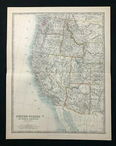 Details about 1893 Antique Victorian Atlas Map UNITED STATES, WESTERN  REGION Handy Royal Atlas