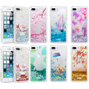 Details about Dynamic Liquid Glitter Quicksand Clear Back Case Cover For iPhone 6 6s 7 8 Plus