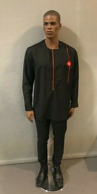 African Men Black suiting material suit , African Wedding, Traditional event