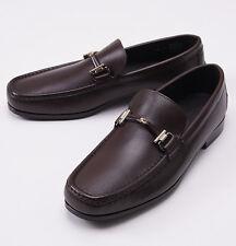 NIB $695 ERMENEGILDO ZEGNA Chocolate Brown Leather Bit Loafers US 9 D Shoes