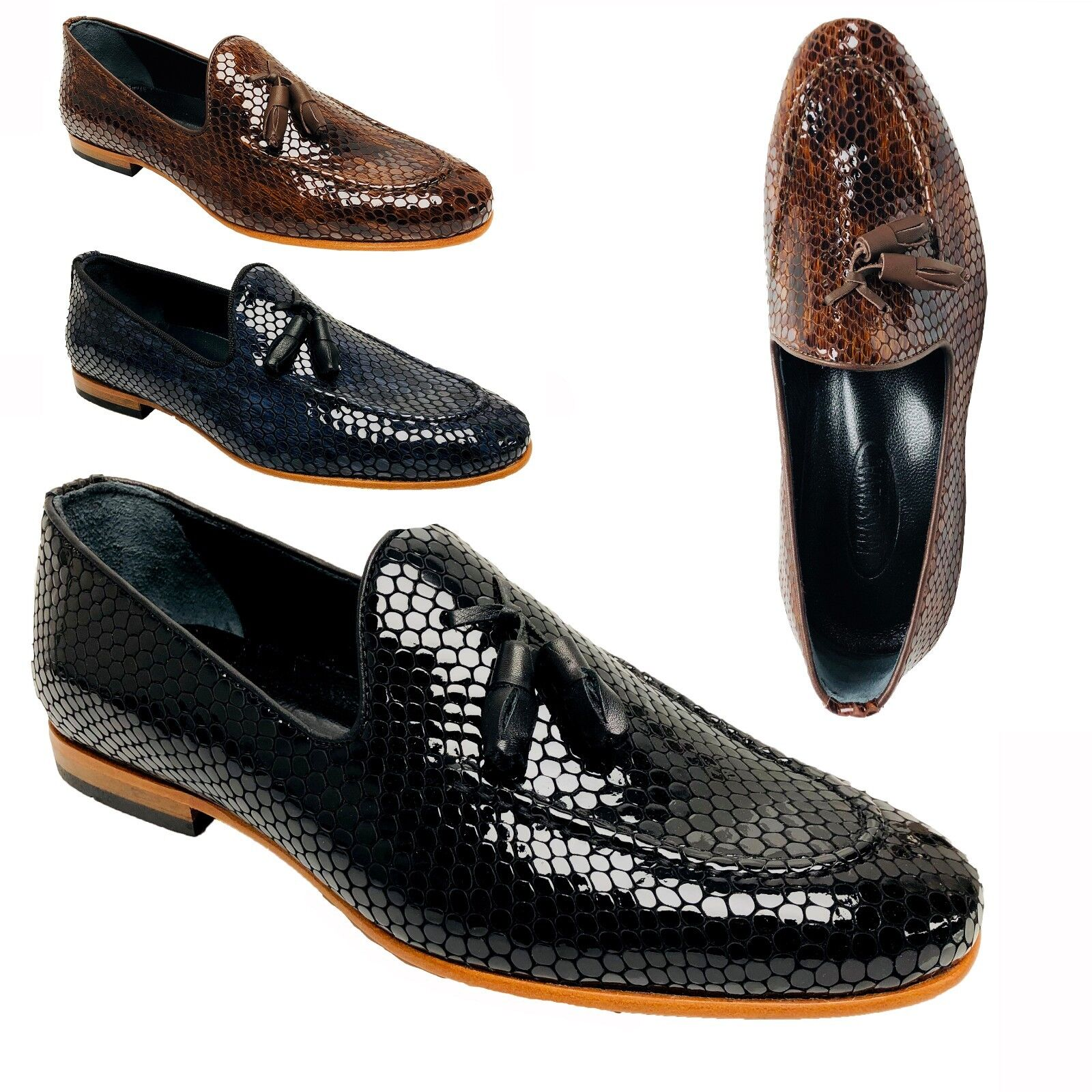 Mens Italian Real Leather Loafers Smart Snake print shoes Slip On Tassel Size