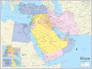 """Cool Owl Maps Middle East Wall Map Poster - Laminated 32""""x24"""""""