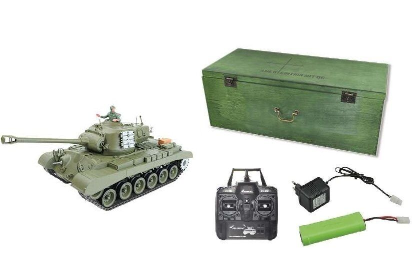 RC Panzer Pershing M26 Schuss Rauch Sound inkl Holzkiste N