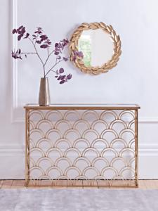 Cox & Cox Stylish Gold Art Deco Slim Arch Mirrored Iron Console Table - RRP £295