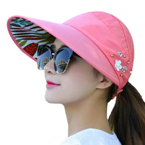 Women Visor Hat Summer Sun Beach Lady Foldable Roll Up Wide Brim Cap Beach 2019