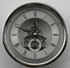 Skeleton Clock 149mm diameter quartz insertion, silver finish.