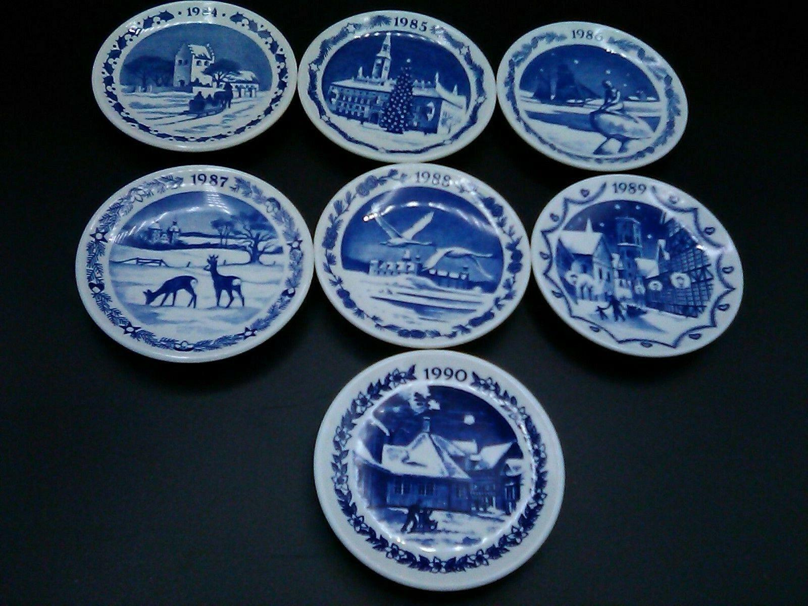 Image 1 - Vintage-Set-of-7-Royal-Copenhagen-Mini-Christmas-Plates-3-034-1-4-from-1984-1990