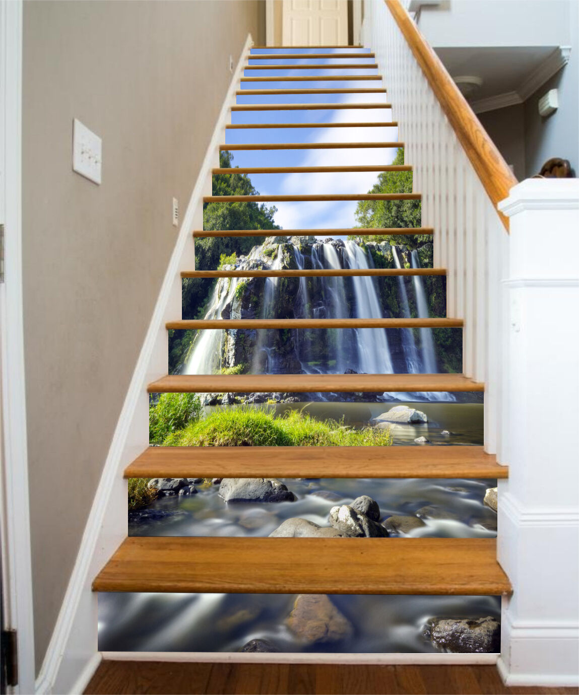 3D Wasserfall 567 Stair Risers Dekoration Fototapete Vinyl Aufkleber Tapete DE