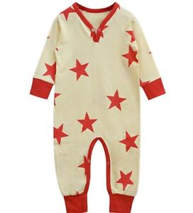 Boys A.T.U.N boutique cotton romper 3-6 NWT red stars patriotic long outfit