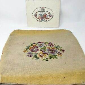 Vintage-Needlepoint-Stool-Chair-Floral-Cover-Counted-Cross-Stitch-Sister-Pictu