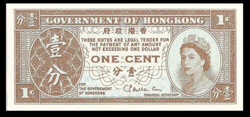 Hong Kong P325b 1 Cent Young Bust of Queen Elizabeth II Bradbury-Wilkinson UNC