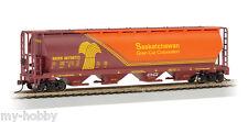 HO Scale 4-Bay Cylindrical Grain Hopper - Saskatchewan #397387 - Bachmann #19140