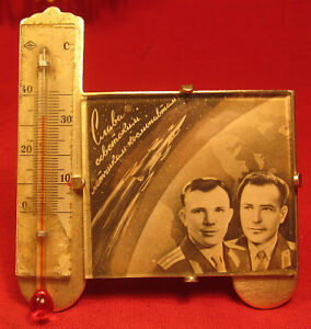 Astronauts & Space Travel Collectibles Gagarin &titov Space Thermometer Soviet Ussr Russian First Astronaut 1961 Rocket Finely Processed