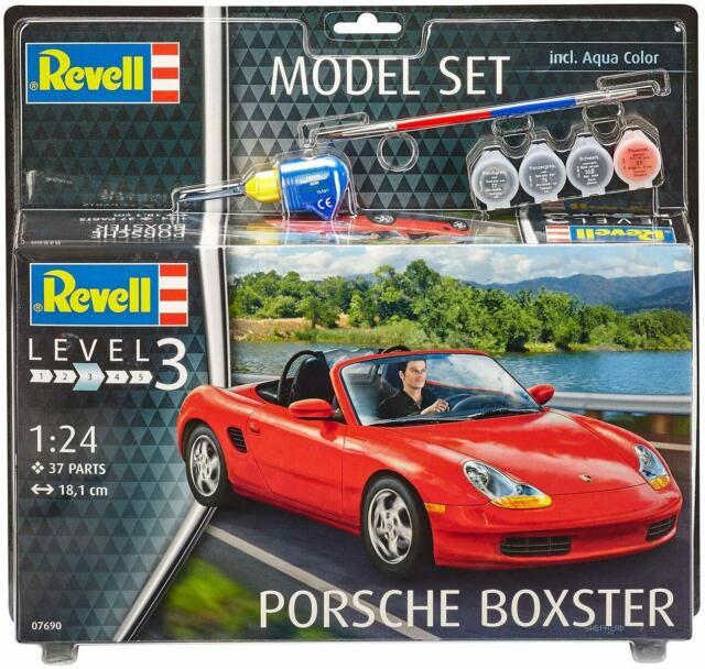 Revell 1/24 Porsche Boxster Modelo Kit Set + Pegamento y Colores