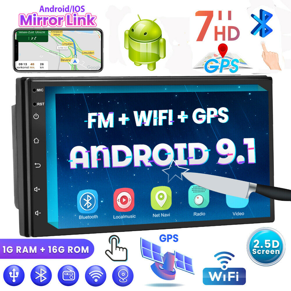 "autoradio: 7"" 2 Doppio DIN AUTORADIO STEREO ANDROID 9.1 WIFI BLUETOOTH QUAD CORE FM"