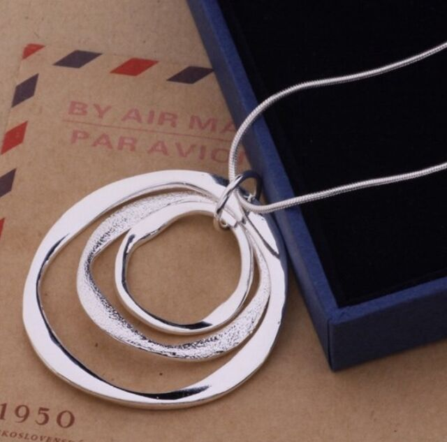 925 Sterling Silver Classic Large Round Pendant Necklace Chain Jewlery Gift