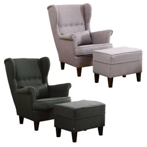 Details about Accent Chair Button Winged Big Sofa Lounge Armchair Fabric  Fire Chairs Footrest
