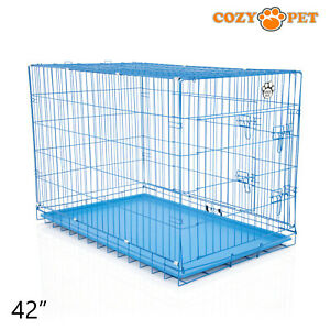 Dog-Cage-42-inch-Puppy-Crate-XL-Cozy-Pet-Blue-Dog-Crates-Folding-Metal-Cages