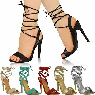 WOMENS LADIES BLACK BLUE HIGH HEEL BARELY THERE STRAPPY LACE TIE UP SANDALS SHOE