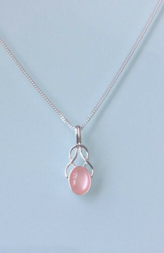 Brand New 925 Sterling Silver Small Fancy Pink Mother of Pearl Celtic Necklace