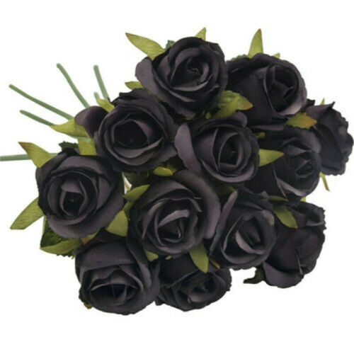 Bunch in vase Home Party 12 Heads Bouquet Wedding Silk Rose Artificial Flowers