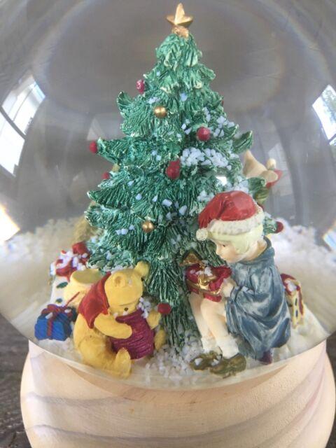 winnie the pooh christmas tree musical charpente snow globe pooh at the tree q1