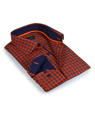 """Camicia Da Uomo Circonferenza Petto 46"""" Cotone Navy Blue & Arancione A Quadri Bottoni A Maniche Lunghe-mostra Il Titolo Originale Merci Di Alta Qualità"""