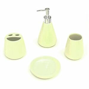 4 piece bathroom ceramic accessory set cream color ebay for Cream bathroom accessories set