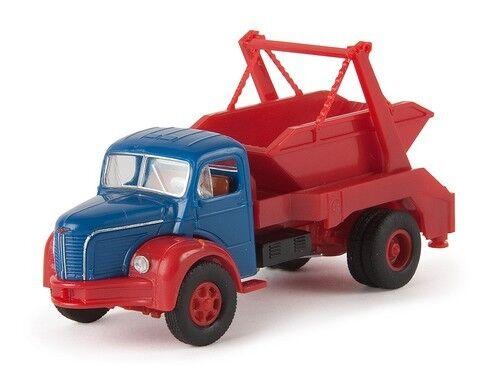 Berliet GLR 8 camion Porte benne bleu et rouge Echelle 1//87 Ho Brekina