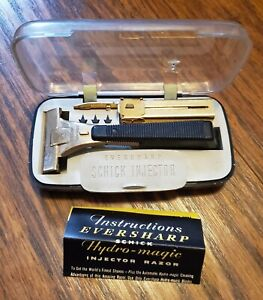 1950s EVERSHARP Hydro Magic SAFETY Shaving Injector RAZOR + SCHICK BLADES