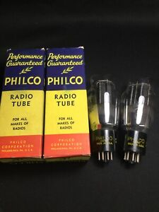NOS-MATCHED-PAIR-PHILCO-6B4G-Amplifier-POWER-Vacuum-Tubes-TESTED-D-8652