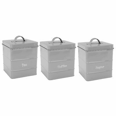 Bene Metallo Tè Caffè Zucchero Barattoli Cucina Storage Contenitore Set-grigio-