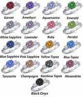Round & Princess Gemstone Sapphire Cz Engagement Ring Sterling Silver Sizes 4-12