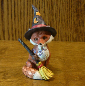 Jim-Shore-Heartwood-Creek-Minis-6001552-FOX-in-WITCH-HAT-HALLOWEEN-3-875-034