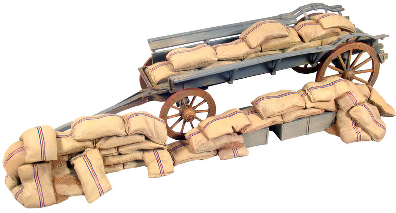 W großbritannien 20082 - ox wagen barrikade mit mealie taschen unter - 4 stück setzen